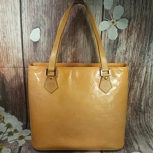 Authentic Louis Vuitton Vernis Houston Yellow Bag
